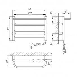 Электрический полотенцесушитель Laris Зебра Прайм ЧК4 Э 400x300 мм правый 75201064