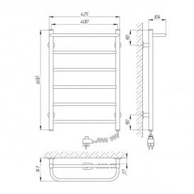 Электрический полотенцесушитель Laris Зебра Прайм ЧК6 Э 400x600 мм правый 75201024