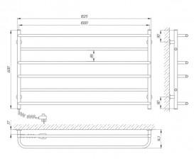 Электрический полотенцесушитель Laris Зебра Практик ЧК6 Э 1000x600 мм левый 75201025