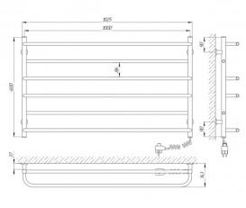 Электрический полотенцесушитель Laris Зебра Практик ЧК6 Э 1000x600 мм правый 75201026
