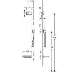 Электронная душевая система скрытого монтажа Tres Shower Technology с термостатом и каскадным изливом белый матовый/белый 09286556BM