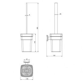 Ершик для унитаза Volle Teo с настенным держателем  матовое стекло/хром 15-88-425