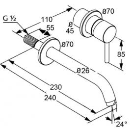 Излив для смесителя настенного монтажа для раковины Kludi латунь хром 7302205-00