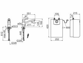 Кухонный смеситель однорычажный ORAS Safira с водонагревателем 1023F