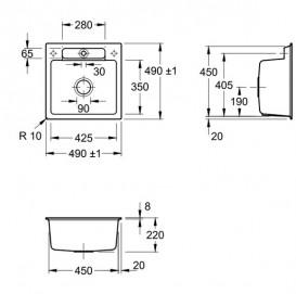 Мийка для кухні Villeroy & Boch Siluet 50 S Flat 49х49 см кераміка chromit 33452FJ0
