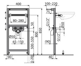 Монтажная рама AlcaPlast для умывальника A104/850