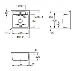 Мойка для кухни Villeroy & Boch Siluet 50 S Flat 49х49 см керамика white alpin 33452FR1