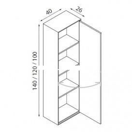 Пенал подвесной Hatria SLIDING wood system 260x400x1200 орех/зеркальный  YXPD92