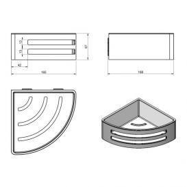Полочка для ванной Volle Teo угловая навесная нержавеющая сталь с пластиковой вставкой Graffit 15-88-756