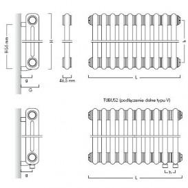 Радиатор отопления Instal Projekt Tubus 2 трубчатый 107,7х180 см 23 секции сталь палитра IP на выбор TUB2-180/23