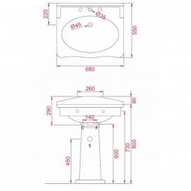 Раковина для ванной ArtCeram Hermitage 68х55 см чёрный глянцевый HEL002 03;00