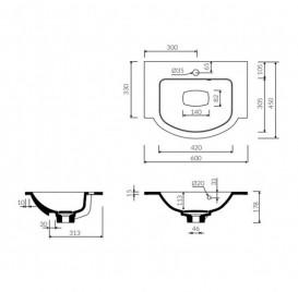 Раковина для ванной Marmorin Emma 600  врезная без крыла литой камень белый  639 060 020 xx x