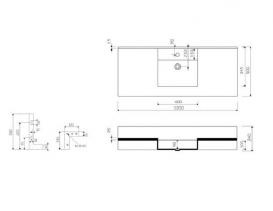 Раковина для ванной Marmorin Onda накладная с крылом литой камень белый 330 120 020 xx x