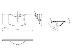 Раковина для ванной Marmorin Pamona 1210 накладная с крылом литой камень белый 320 121 020 xx x