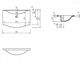 Раковина для ванной Marmorin Pamona 750 накладная без крыла литой камень белый 320 075 020 xx x