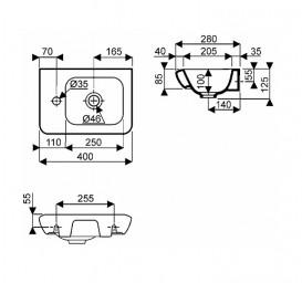 Раковина для ванной на тумбу Kolo Life 40 левосторонняя белая M22441000