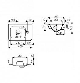 Раковина для ванной на тумбу Kolo Life 40 правосторонняя с покрытием Reflex белая M22440900