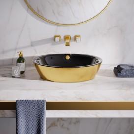 Раковина для ванной накладная Catalano Gold & Silver 60х42 керамика цвет черный/золото 160VLNNO