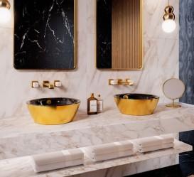 Раковина для ванной накладная Catalano Gold & Silver 42х42 керамика цвет черный/золото 142VLNNO