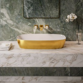 Раковина для ванной накладная Catalano Gold & Silver 80х40 керамика цвет белый/золото 180APGRLXBO