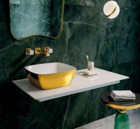 Раковина для ванной накладная Catalano Gold & Silver 40х40 керамика цвет белый/золото 140APGRLXBO