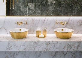 Раковина для ванной накладная Catalano Gold & Silver 42х42 керамика цвет белый/золото 142VLNBO