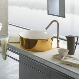 Раковина для ванной накладная Hatria HAPPY HOUR_Trilogy Gold edition 24k 440x440 YXSKB6