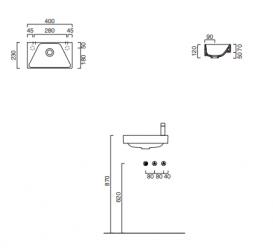 Раковина для ванной подвесная Catalano New Zero 40х23 керамическая белая 14023ZE00