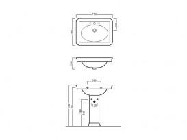 Раковина для ванной подвесная на одно отверстие Hatria DOLCEVITA 75х57 см Y0EJ01