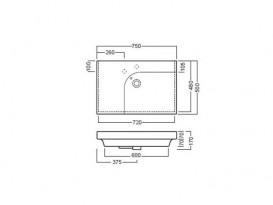 Раковина для ванной подвесная правая Hatria GRANDANGOLO 75х50 см YXNT01