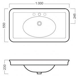 Раковина для ванной  подвесная Hatria DOLCEVITA 1000x550 Y0F001