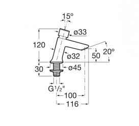 Самозакрывающийся кран для раковины Roca Instant нажимной с подводом одной воды A5A4477C00