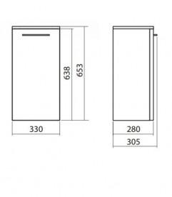 Шкафчик боковой Kolo Nova Pro 33х65.3 см серый ясень 88437000