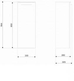 Шкафчик боковой Kolo Nova Pro 33х86.6 см серый ясень 88436000
