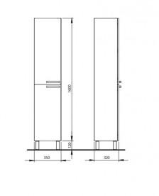 Шкафчик для ванны напольный Kolo Freja высокий белый глянец 88384001