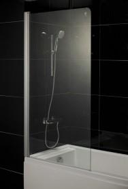 Шторка для ванны распашная Eger 80х150 правая/левая профиль алюминий хром стекло тонированное 599-02L/R grey