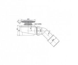 Сифон для душевого поддонa AlcaPlast Ø60 мм заниженный A471CR-60