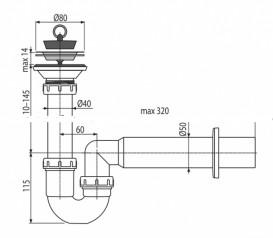 Сифон для раковины AlcaPlast с гидрозатвором A464-DN50