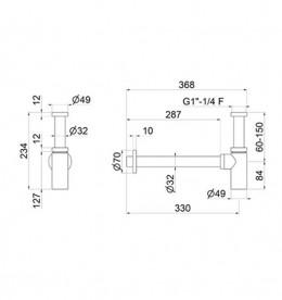 Сифон для раковины Vema Tiber steel нержавеющая сталь P000459AC005