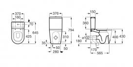 Сливной бачок для унитаза Roca Inspira Square c механизмом двойного смыва 4,5/3 л керамика белый A341520000