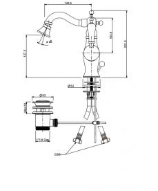Смеситель для биде RESP CAESAR с донным клапаном бронза 151.378.372/A BR