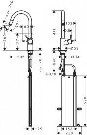 Смеситель для кухни Hansgrohe Talis M52 260 1jet Sbox с вытяжным изливом однорычажный сталь 73864800