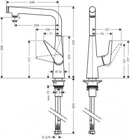 Смеситель для кухни однорычажный Hansgrohe коллекция Talis Select S хром 72820000