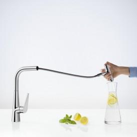 Смеситель для кухни с выдвижной лейкой однорычажный Hansgrohe коллекция Talis Select S хром 72821000