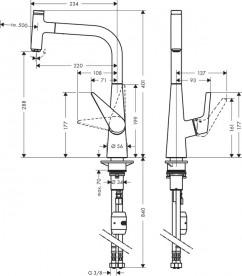 Смеситель для кухни с выдвижной лейкой однорычажный Hansgrohe коллекция Talis Select S нержавеющая сталь 72821800