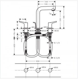 Смеситель для раковины двухрычажный скрытый Hansgrohe коллекция Talis S хром 72130000