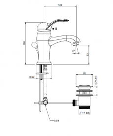 Смеситель для раковины двухвентильный RESP OTELLO бронза 346.378.352/А BR