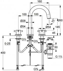 Смеситель для раковины Kludi BOZZ на три отверстия двухвентильный хром 383930520