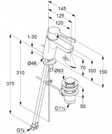 Смеситель для раковины Kludi Pure&Easy Care однорычажный с донным клапаном 372840565