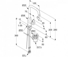 Смеситель для раковины Kludi Pure&Easy однорычажный с донным клапаном 370230565